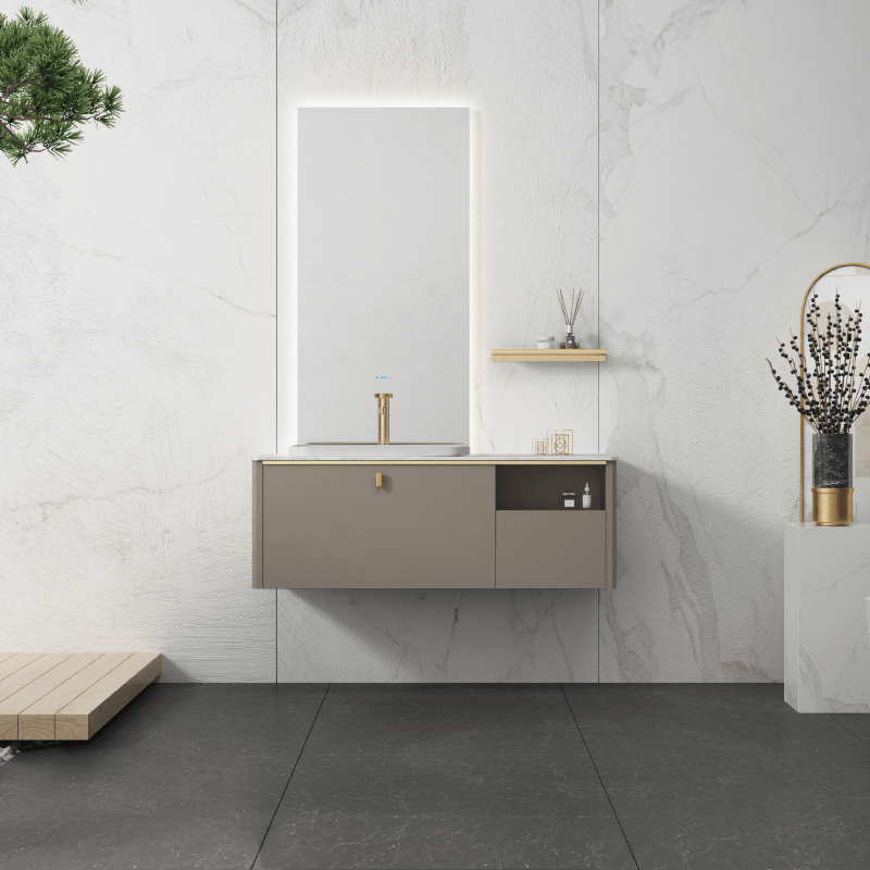 Floating bathroom vanity with LED mirror sink and basin combo, solid wood material