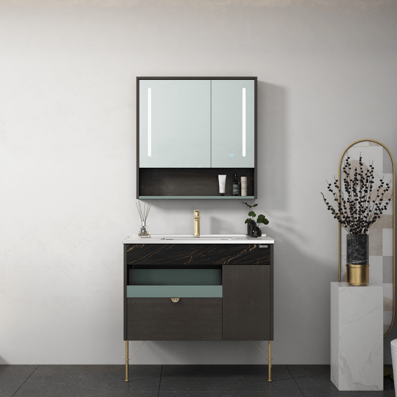 New product model style bathroom cabinet manufacturer Unique combination of stone and wood, practical and stylish