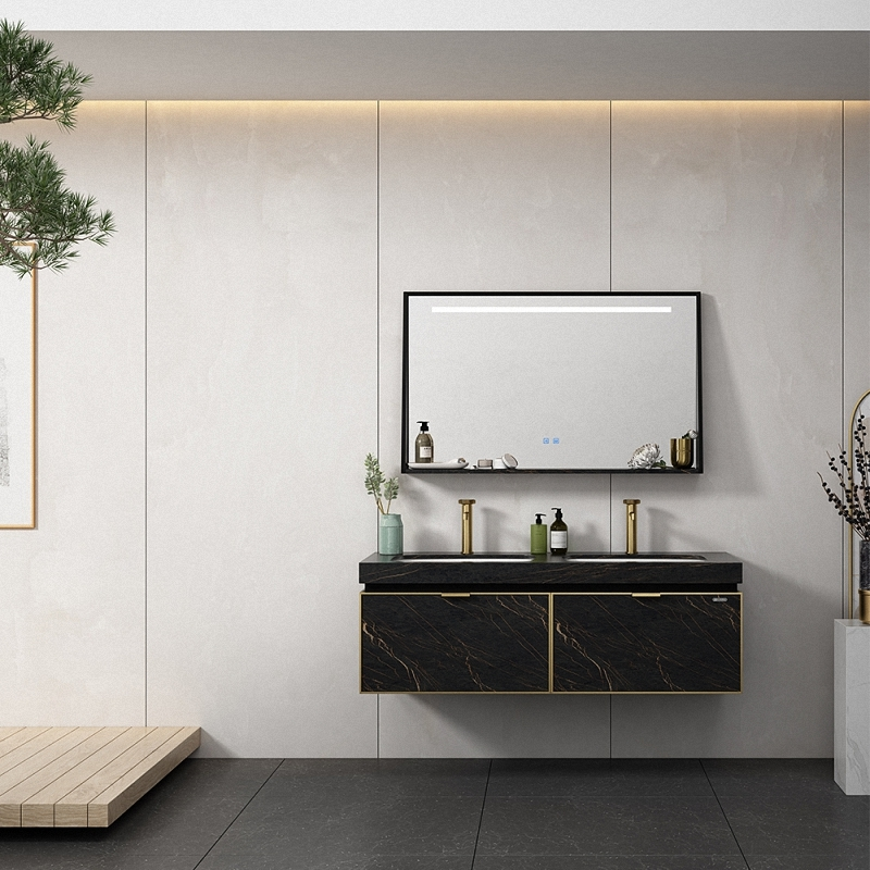 Bathroom cabinet decorate by porcelain slab of high quality and rock texture.