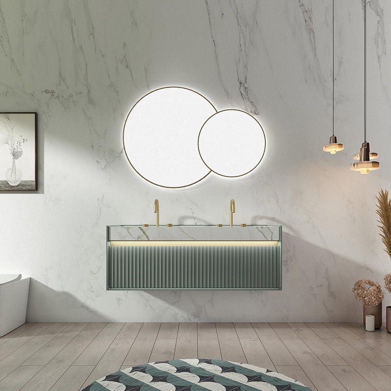 Concealed downpipe design, Instantly updated the aesthetics of the double sink bathroom vanity