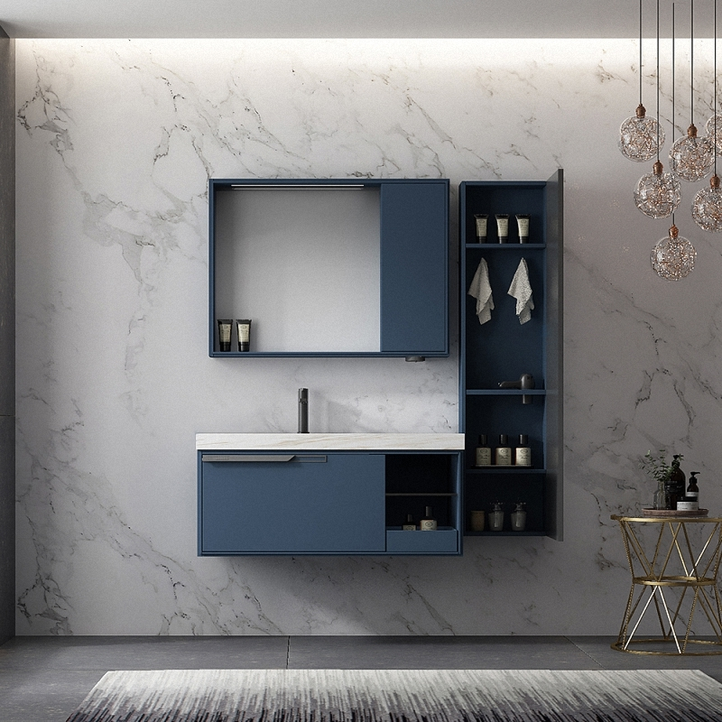 Blue bathroom vanity inspired by the vastness of the starry sky.