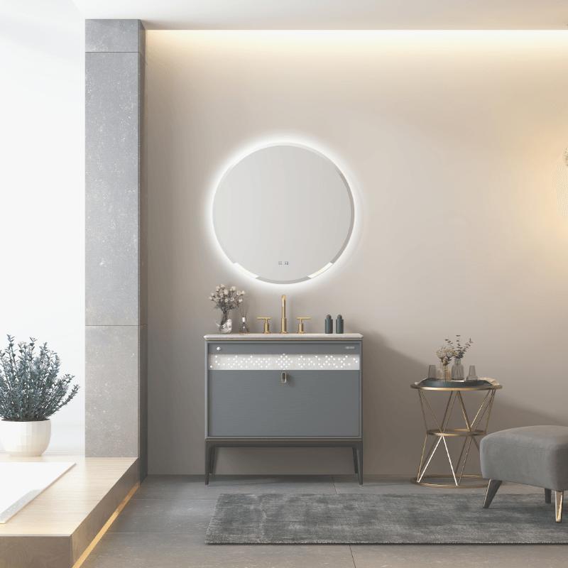 Floor standing vanity units with basin LED sensor mirror