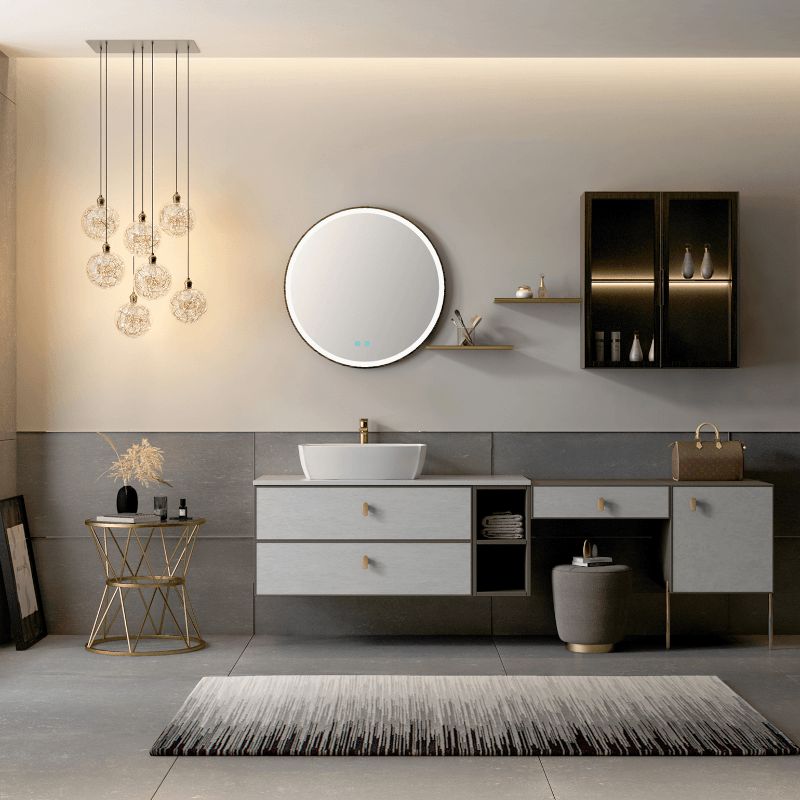 Floating wall mounted bathroom vanity with side cabinet