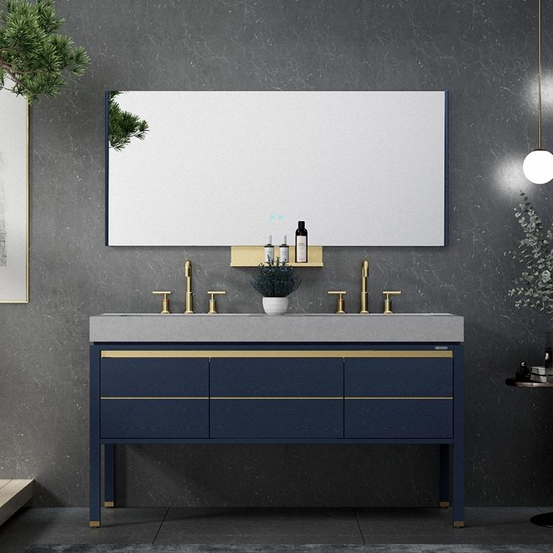 Blue modern solid wood bathroom vanity with top