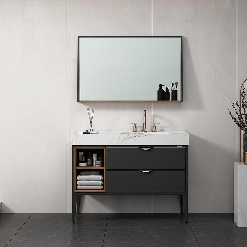 Solid wood bathroom floor cabinet, with attitude, comes warmth